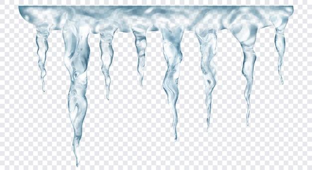 Grupo de pingentes de gelo realistas cinza translúcidos de diferentes comprimentos, conectados na parte superior, isolados em um fundo transparente. transparência apenas em formato vetorial