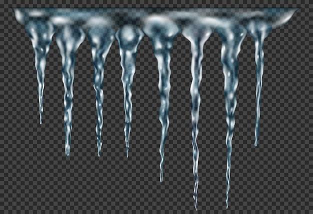 Grupo de pingentes de gelo realistas de azul claro translúcido de diferentes comprimentos conectados na parte superior. para uso em fundo escuro. transparência apenas em formato vetorial