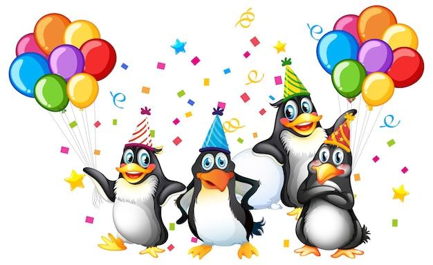 Grupo de pinguins em personagem de desenho animado com tema de festa em branco