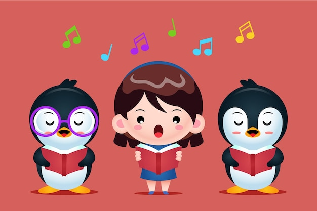 Grupo de pinguins fofos e uma garota cantando em um coro