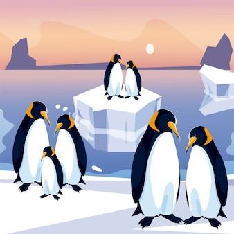 Grupo de pinguins na ilustração panorâmica do mar do pólo norte em iceberg