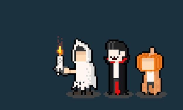 Grupo de pixel art de personagem menino com fantasia de halloween.