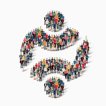 Grupo de ponto de multidão formando uma forma predeterminada. pessoas criativas.