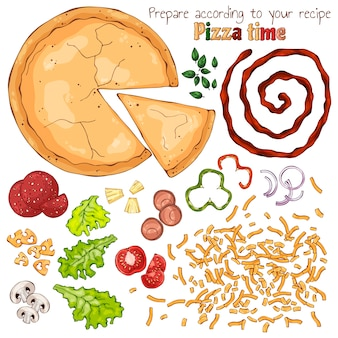 Grupo de produtos isolados vetor para cozinhar pizza.