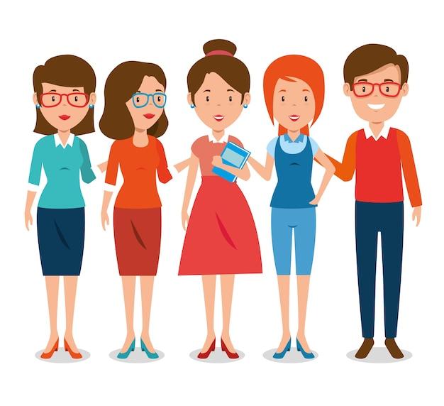 Grupo de professores de desenhos animados