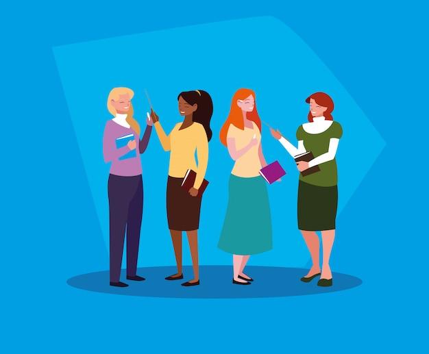 Grupo de professores meninas avatar personagem