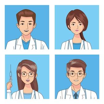 Grupo de profissionais médicos com ilustração de personagens de estetoscópios