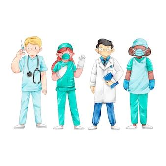Grupo de profissionais médicos e enfermeiros