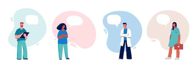 Grupo de profissionais médicos em um branco