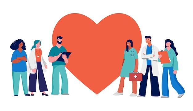 Grupo de profissionais médicos em um coração vermelho