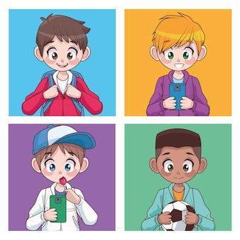 Grupo de quatro adolescentes inter-raciais meninos crianças personagens ilustração