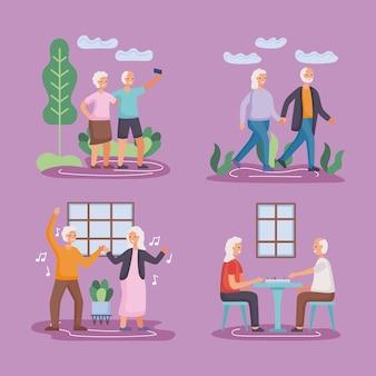 Grupo de quatro casais de idosos ativos praticando atividades de design de ilustração