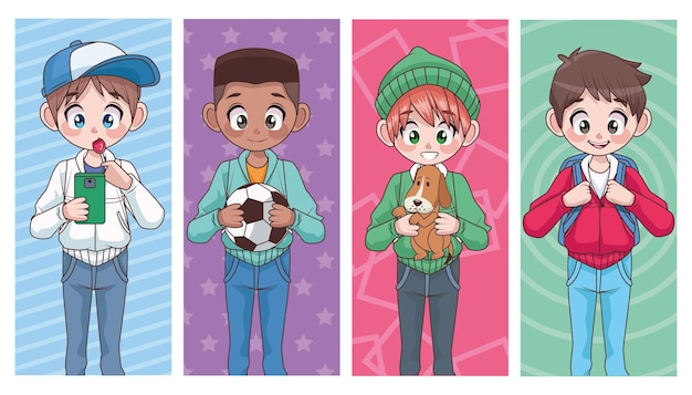 Grupo de quatro jovens adolescentes interraciais meninos crianças personagens ilustração
