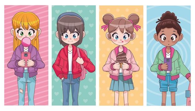 Grupo de quatro lindos adolescentes inter-raciais, meninas, personagens de anime, ilustração