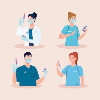 Grupo de quatro médicos com equipe da vacina covid19