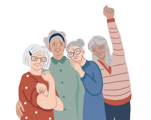 Grupo de quatro mulheres idosas idosos ativos, poder feminino, direitos das mulheres, feminismo, conceito