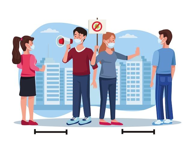 Grupo de quatro pessoas usando máscaras médicas na ilustração da cidade