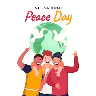Grupo de rapazes alegres em pose de captura de fotos com globo terrestre e pombas voando sobre fundo branco para o dia internacional da paz.