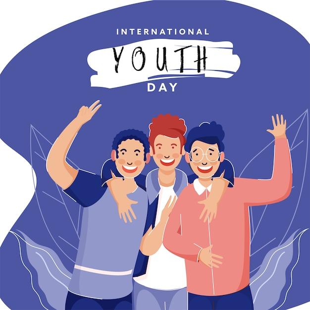 Grupo de rapazes em pose de captura de fotos para o dia internacional da juventude.