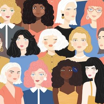 Grupo de retratos de diversas mulheres