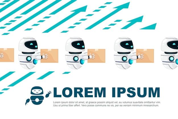 Grupo de robô bonito moderno levitando com uma cara feliz segurando a ilustração vetorial de caixa de papelão