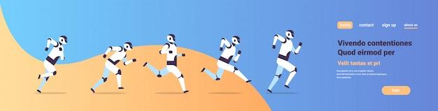 Grupo de robôs modernos executando competição de tecnologia de inteligência artificial