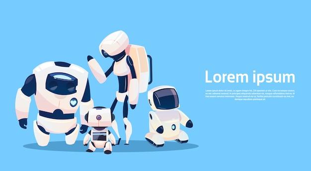 Grupo de robôs modernos