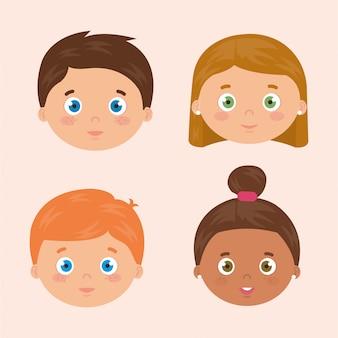 Grupo de rostos crianças avatar personagens