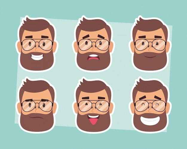 Grupo de rostos de homem com barba e óculos vector design ilustração