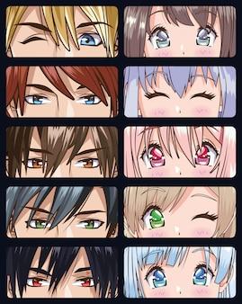 Grupo de rostos jovens personagens de estilo anime design de ilustração vetorial