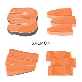 Grupo de salmões, fatia de peixes crus e bifes isolados em um fundo branco. ilustração dos desenhos animados