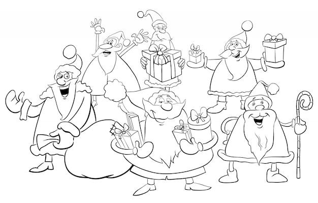 Grupo de santa para colorir