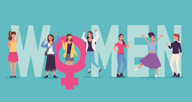 Grupo de seis belas jovens personagens celebrando e ilustração do gênero feminino