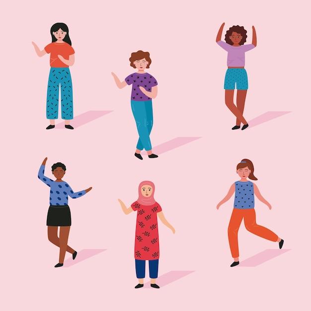 Grupo de seis mulheres jovens em pé ilustração de personagens de avatares