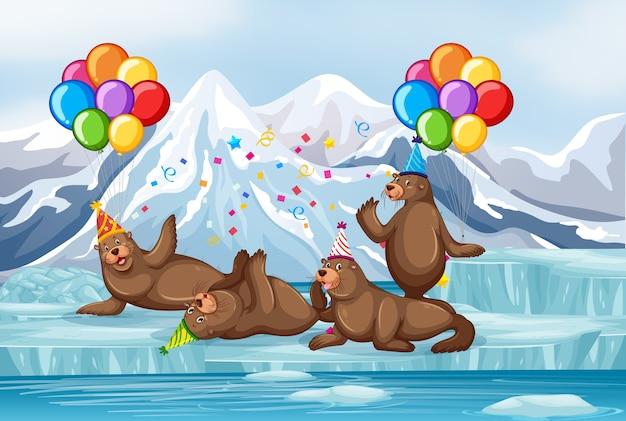 Grupo de selos em personagem de desenho animado com tema de festa na antártica