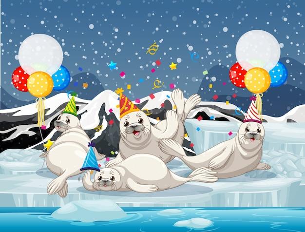 Grupo de selos em personagem de desenho animado com tema de festa no fundo da antártica