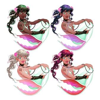 Grupo de sereias com diferentes cores de pele e cabelo