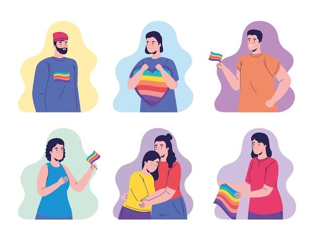 Grupo de sete pessoas com personagens de bandeiras lgtbi