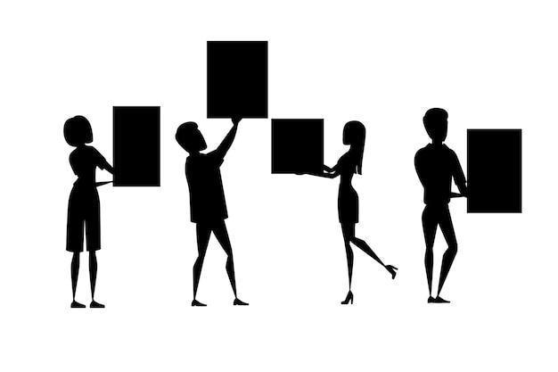 Grupo de silhueta negra de pessoas com os braços erguidos segurando um personagem de desenho animado de letreiro em branco vazio