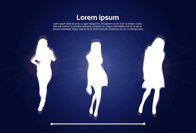 Grupo de silhuetas da mulher branca. modelo de texto