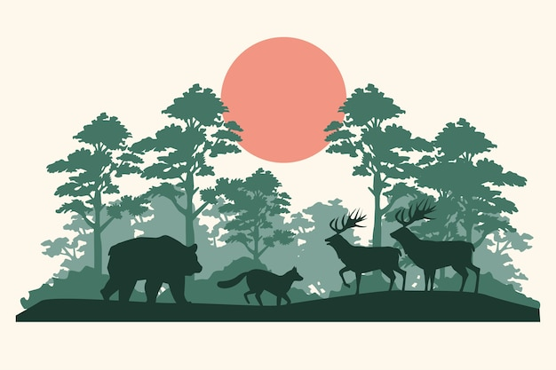 Grupo de silhuetas de animais na selva