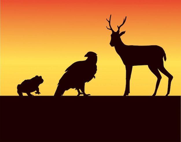 Grupo de silhuetas de animais selvagens na ilustração da paisagem do pôr do sol