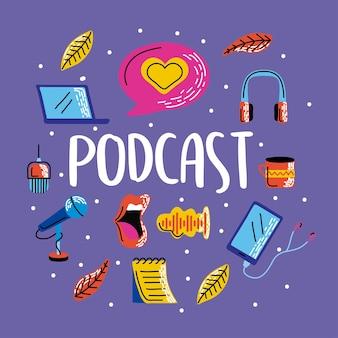 Grupo de símbolo de podcast