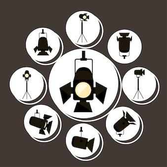 Grupo de símbolos de holofotes