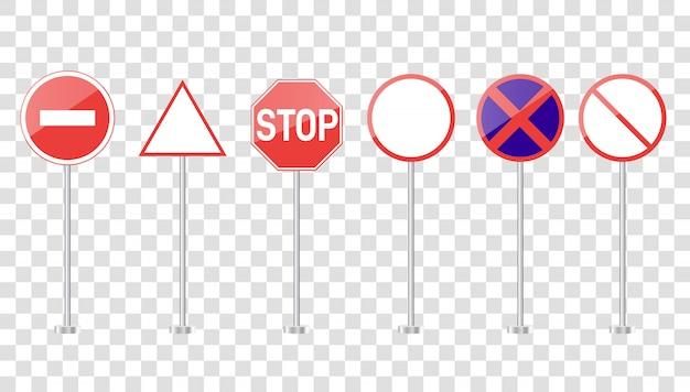 Grupo de sinais de estrada isolados em transparente. tráfego de rua em branco e sinais de estrada vector conjunto isolado.