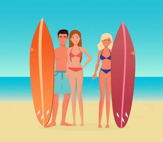 Grupo de surf de pessoas