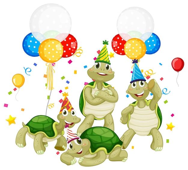 Grupo de tartarugas em personagem de desenho animado com tema de festa em branco
