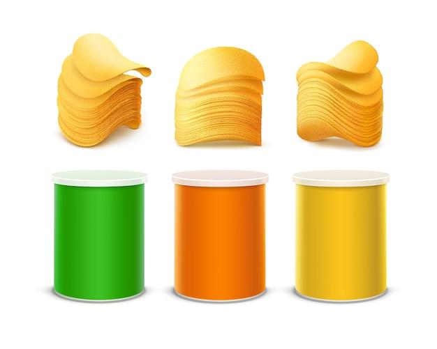 Grupo de tin box container tube verde amarelo alaranjado colorido para o projeto de pacote com a pilha de microplaquetas friáveis da batata perto acima isolado no fundo branco.