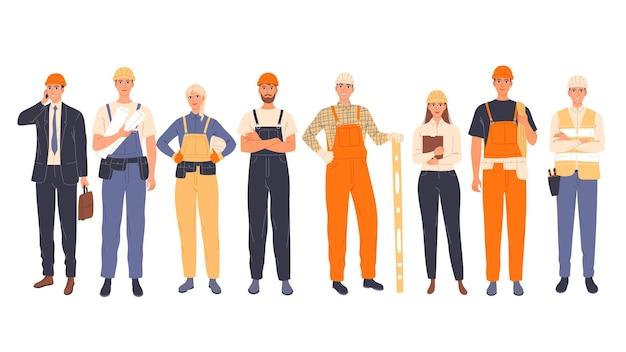 Grupo de trabalhadores da construção civil uniformizados, homens e mulheres, de diferentes especialidades, engenheiro-chefe