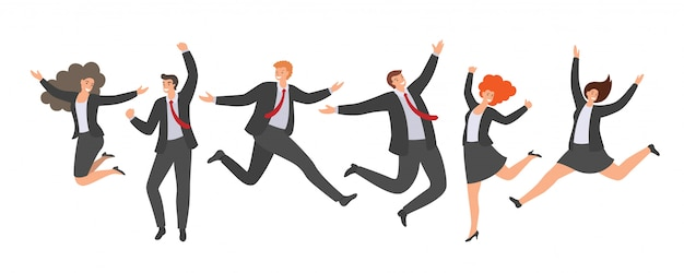 Grupo de trabalhadores de escritório pulando felizes em fundo branco.